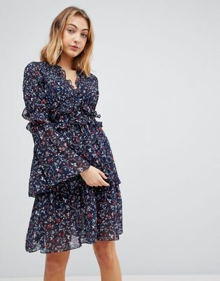Walter Baker Dianna Floral Print Layered Dress