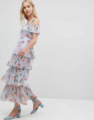 Walter Baker Floral Print Tiered Maxi Dress