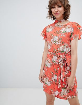 Walter Baker Frill Front Floral Print Tea Dress