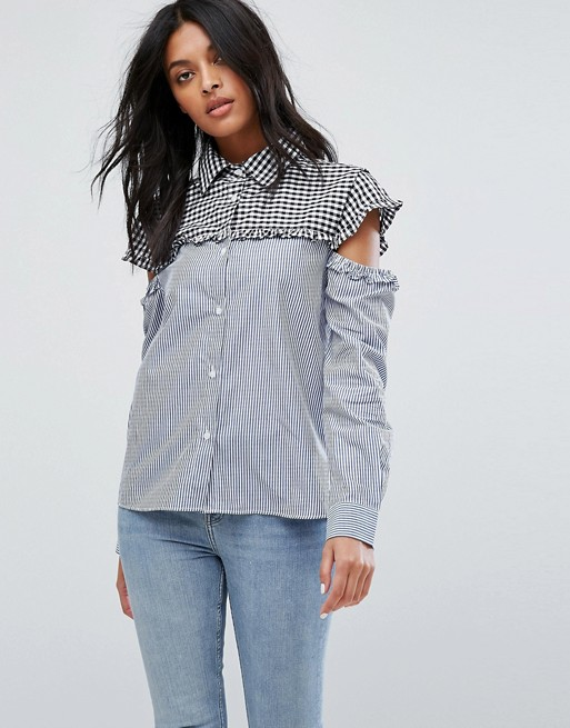 Image 1 of Walter Baker Marvin Cut Out Sleeve Gingham Stripe Shirt