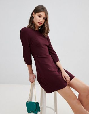 Image 1 of Warehouse 3/4 sleeve shift dress in plum