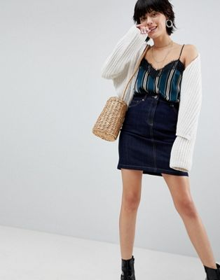 Warehouse 5 Pocket Raw Denim Mini Skirt