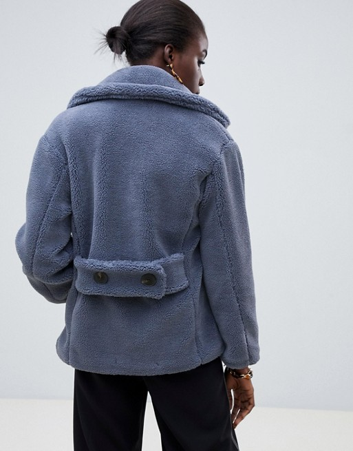65ccb8d0522d78 Warehouse - Cappotto doppiopetto blu a pelo corto | ASOS