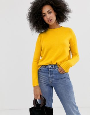 Image 1 of Warehouse crew neck sweater in yellow