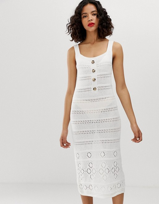 Warehouse crochet dress with buttons in ivory