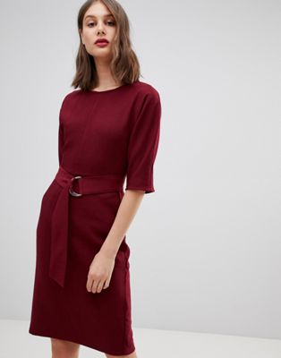 Warehouse d-ring midi dress in burgundy
