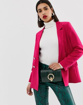 Warehouse double breasted blazer in bright pink