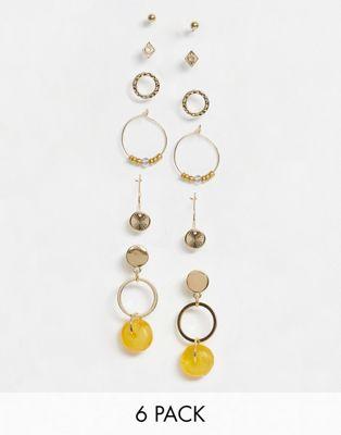 Bild 1 von Warehouse – Goldene Ohrringe mit Kunstharz im 6er-Pack