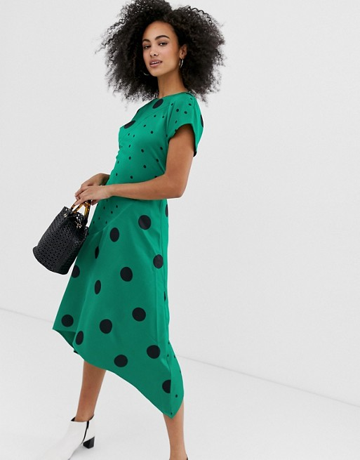 Image 1 of Warehouse hanky hem dress in mixed polka dot