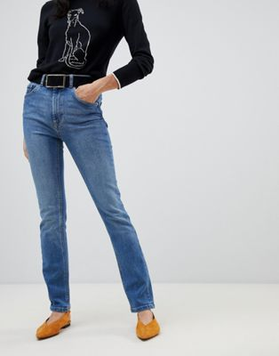 Warehouse high waisted sculpting skinny jeans in mid wash