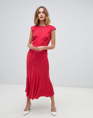 Warehouse jacquard midi dress in blush red