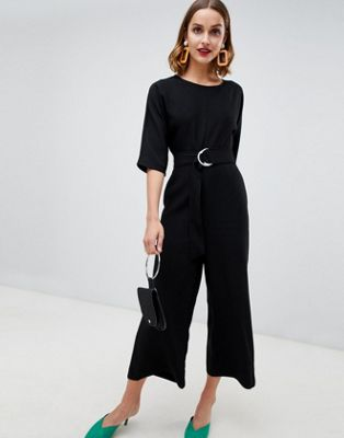 Image 1 of Warehouse jumpsuit with d-ring belt in black