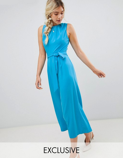 Warehouse jumpsuit with tie waist in blue