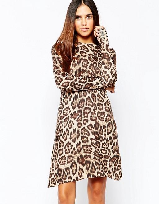 9a81d05d1a07 Warehouse Leopard Print Swing Dress   ASOS