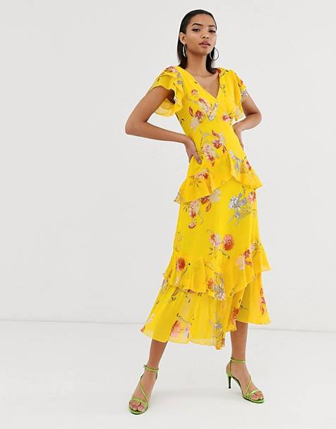 e3b0b890fc2ac Warehouse maxi dress with tiered ruffles in floral print