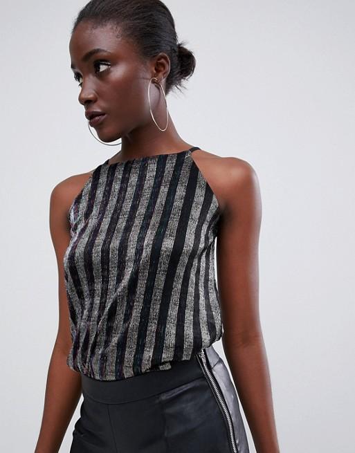 Warehouse – Metallic-randigt linne med hög krage