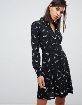 Warehouse mini shirt dress in leopard print