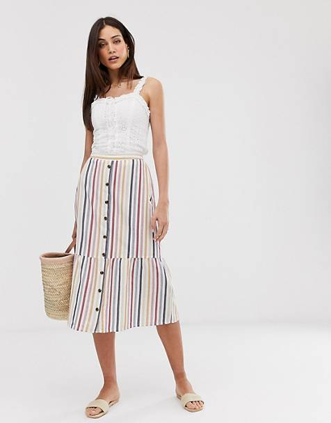 72f0b0a79d Warehouse multi stripe midi skirt in multi stripe
