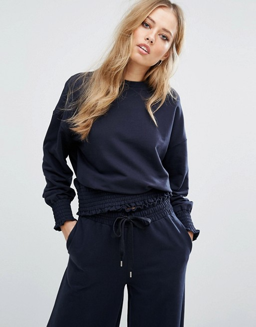 Warehouse Oversized Sweater With Frill Hem