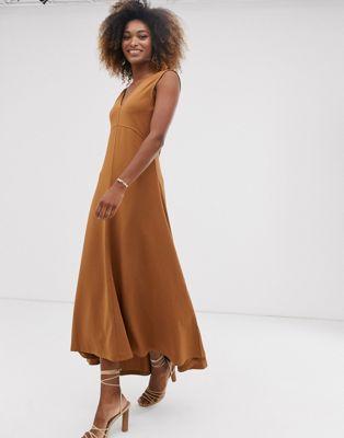Warehouse - Premium - Lange jurk met V-hals van scuba crepe