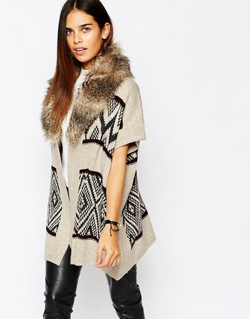 Image 1 of Warehouse Printed Cardigan With Faux Fur Collar