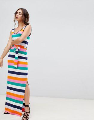 Warehouse Rainbow Stripe Jersey Maxi Dress