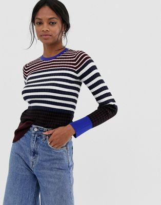 Bild 1 av Warehouse – Randig tröja i ribbstickning