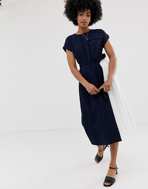 Image 1 of Warehouse shirt dress with pleats in navy