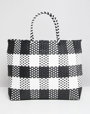 Warehouse shopper bag in check