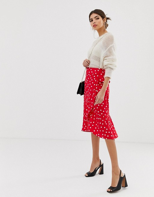store 60% discount a few days away Warehouse spot wrap midi skirt in red