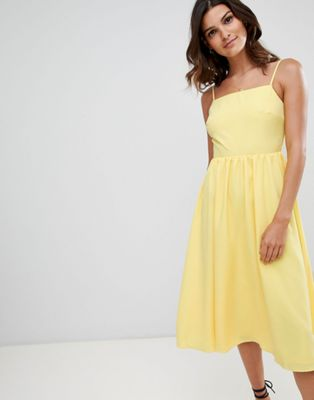 Warehouse square neck sun dress in yellow