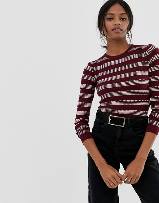 Warehouse stripe stitch sweater
