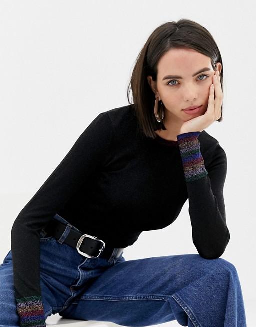 Warehouse sweater with metallic stripe cuff in black