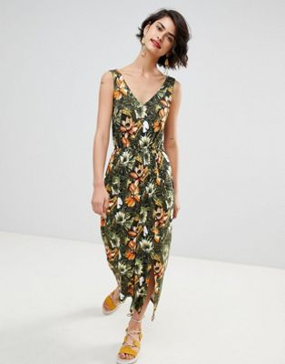 Warehouse Toucan Tropical Print Maxi Dress