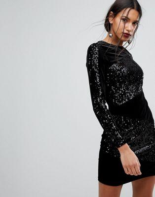 Warehouse Velvet Sequin Panel Bodycon Dress