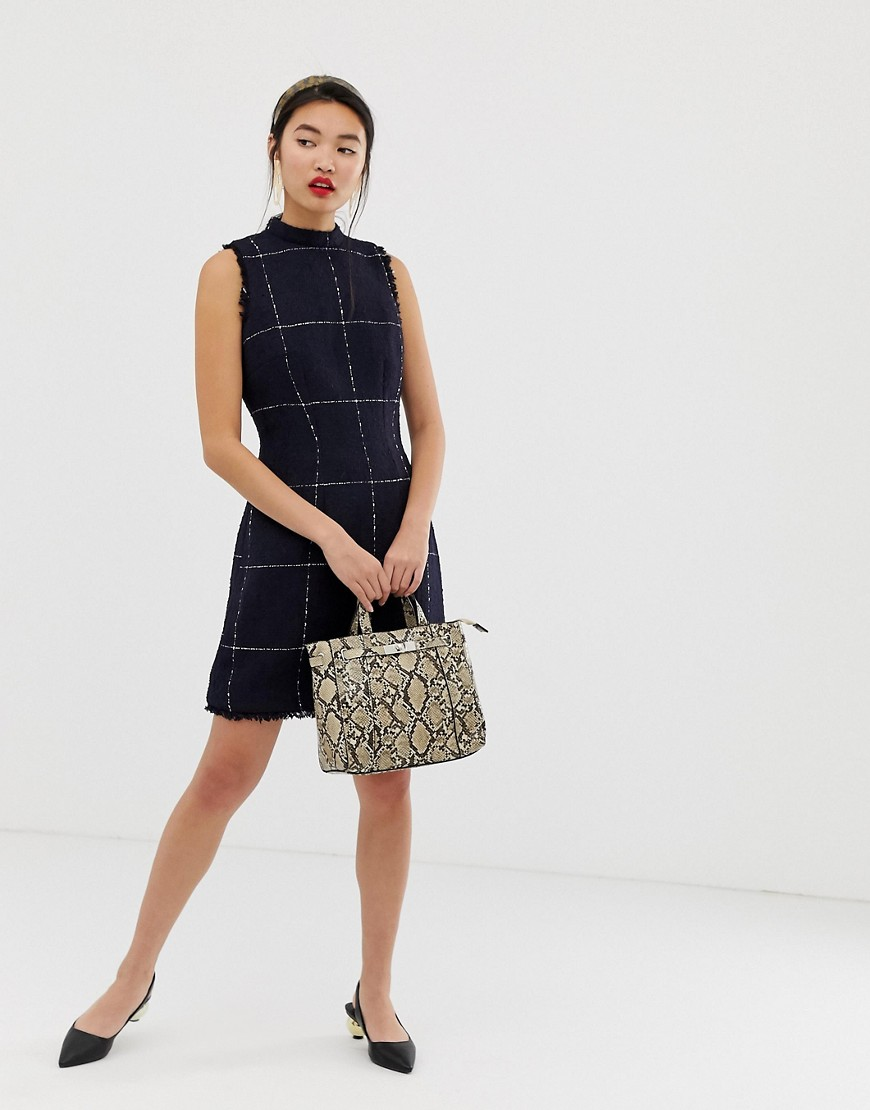Warehouse Window Pane Check Dress In Navy by Warehouse