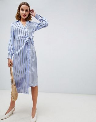 Warehouse wrap dress with tie side in blue stripe