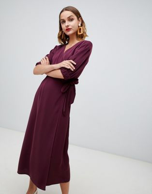 Warehouse wrap midi dress in fig
