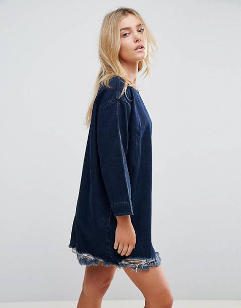 Waven Eira Destroyed Hem Denim Dress