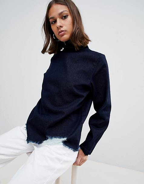 Waven Eleni destroyed denim funnel neck top