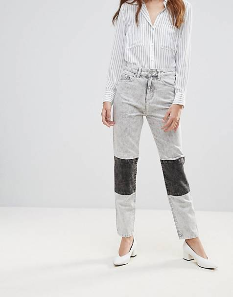 Waven Elsa Paneled Acid Wash Mom Jeans