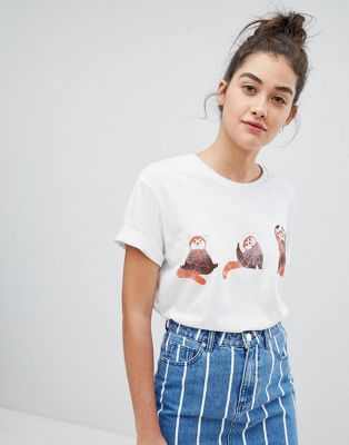 We Are Hairy People - T-shirt boyfriend in cotone biologico con panda che fa yoga dipinto a mano