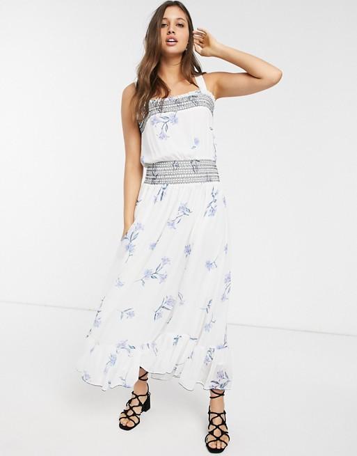 We Are Kindred Havana Shirred Floral Midi Dress