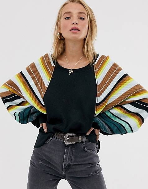 We The Free by Free People rainbow volume sleeve top