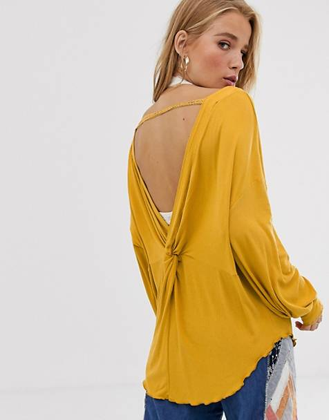 We The Free by Free People Shimmy deep v back top with crochet sleeve