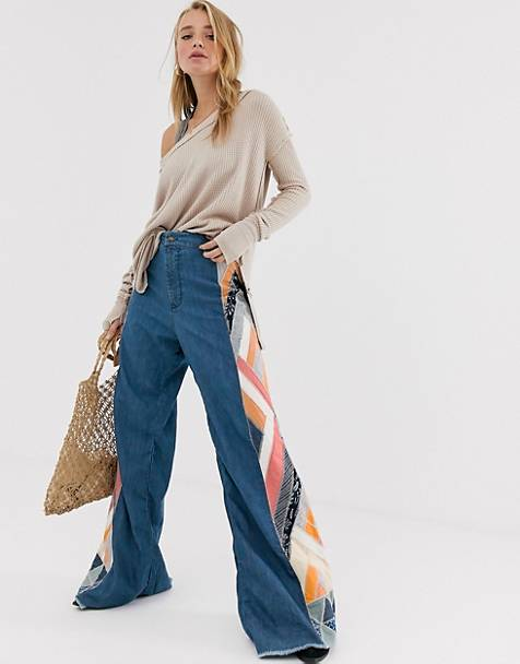 We The Free by Free People wide leg flare with patchwork detail