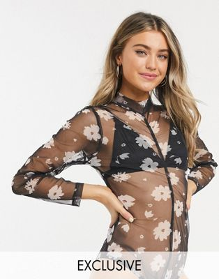 Wednesday's Girl — Blomstret body med rynket front-Sort