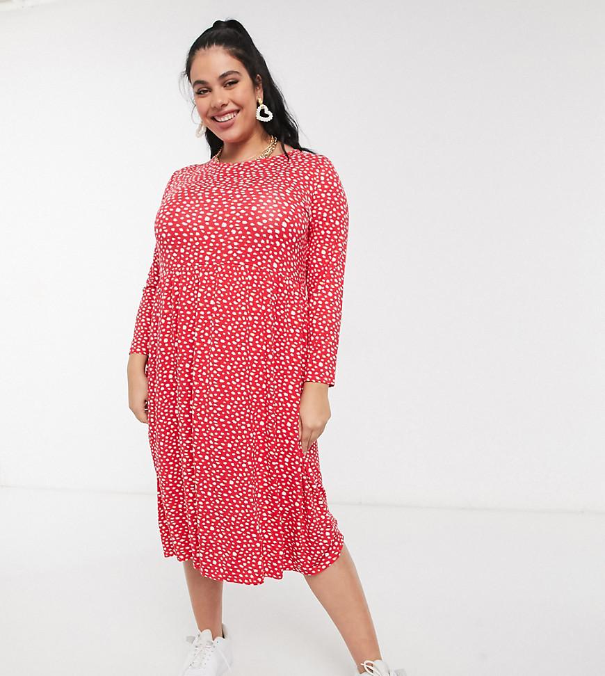 Wednesday's Girl Curve - Langærmet smock-midikjole med udtværede prikker-Rød