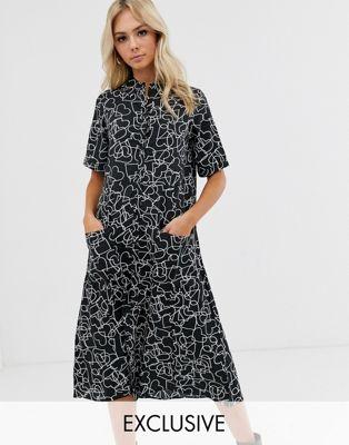 Wednesday's Girl - midi skjortekjole med stor nederdel i hjerteprint