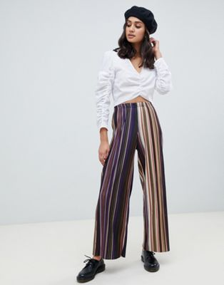 Wednesday's Girl - Pantaloni plissettati a righe